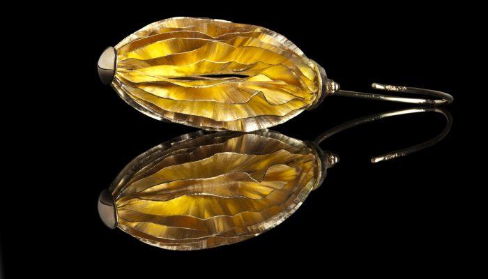 Gouden Lamellen oorhangers