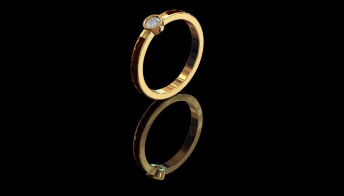 Paardenhaar ring met diamant