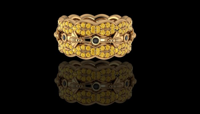 Bijen ring met diamant
